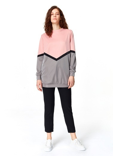 Mizalle Renk Geçişli Sweatshirt Renkli